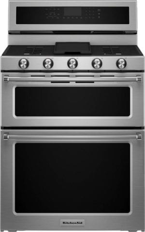 6.0 Cu. Ft. Self-Cleaning Free-Standing Double Oven Gas Convection Range Stainless steel