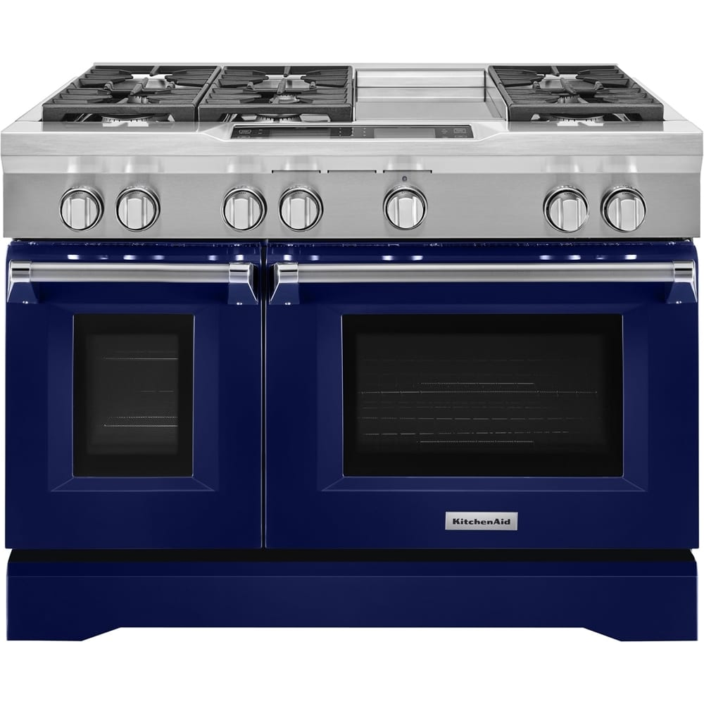 6.3 Cu. Ft. Self-Cleaning Freestanding Double Oven Dual Fuel Convection Range Cobalt blue