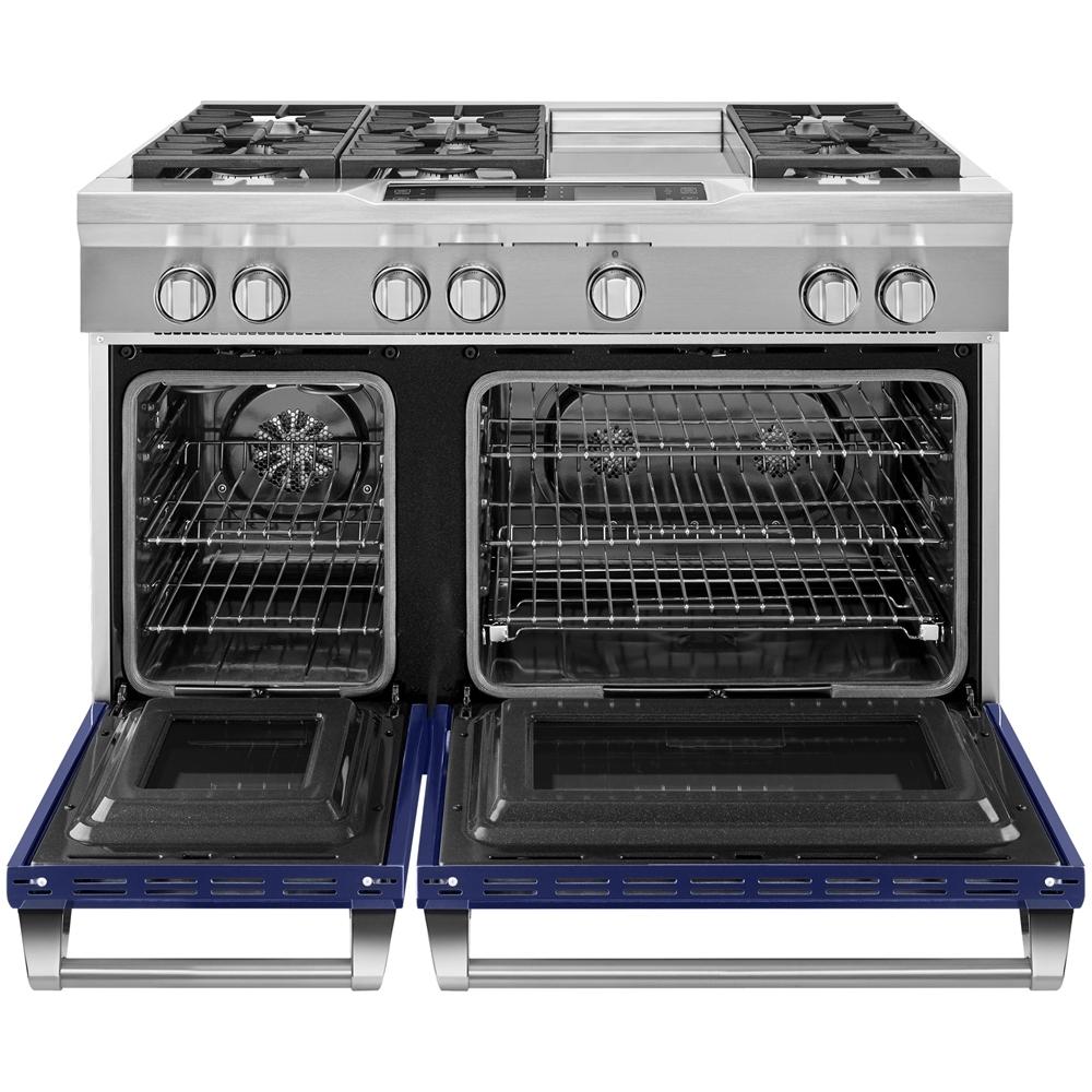6.3 Cu. Ft. Self-Cleaning Freestanding Double Oven Dual Fuel Convection Range Cobalt blue