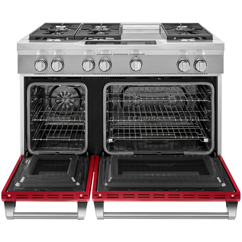 6.3 Cu. Ft. Self-Cleaning Freestanding Double Oven Dual Fuel Convection Range Signature red