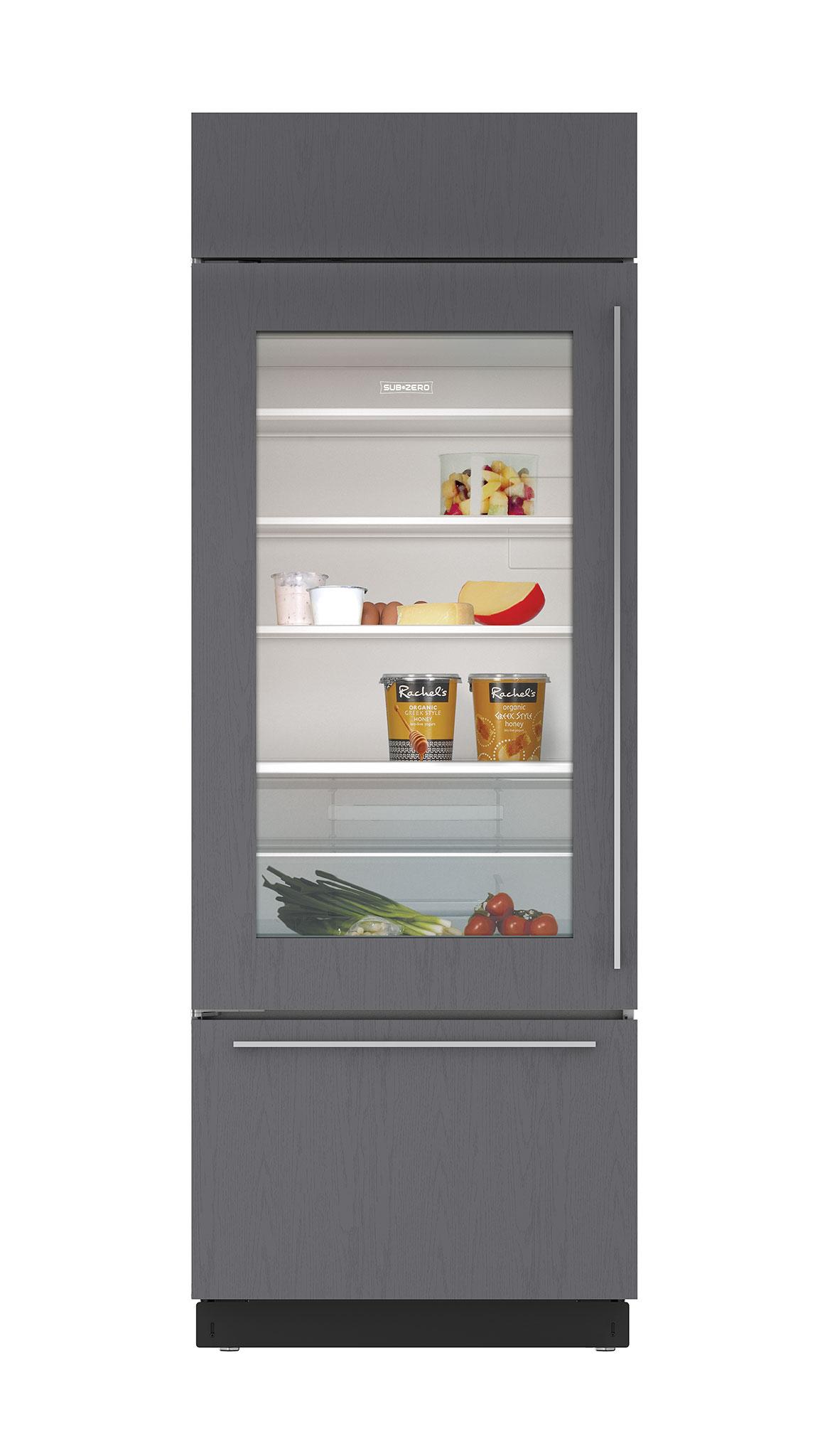 """Sub Zero Glass Door Refrigerator 30"""" built-in over-and-under glass door refrigerator/freezer - panel ready"""