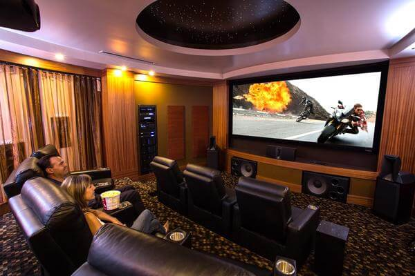 People Sitting In Home Theater